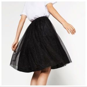 NWT. Zara black tulle skirt with polka dot. Size S
